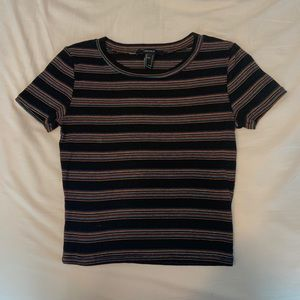 Black and Rainbow Striped Tee